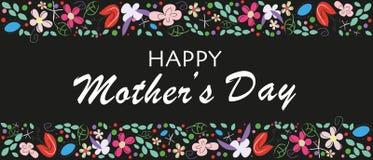 Lycklig bokstäver för moderdag med blommor Elegant blom- bakgrund för svart för kort för hälsning för moderdag stock illustrationer