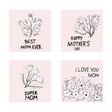 Lycklig bokstäver för moderdag med lösa blommor vektor illustrationer