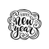 Lycklig bokstäver för nytt år Design av hälsningkortet Arkivbilder
