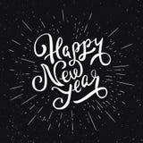 Lycklig bokstäver för nytt år Hälsningkortdesign Royaltyfria Foton