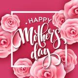 Lycklig bokstäver för moderdag Kort för hälsning för moderdag med blommande rosa Rose Flowers också vektor för coreldrawillustrat Royaltyfria Bilder
