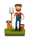 Lycklig bonde med en högaffel gears symbolen tecknad filmcommandertryckspruta hans illustrationsoldatstopwatch Arkivbilder