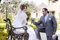 lycklig brud Royaltyfri Fotografi