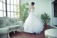 Lycklig brud med den väntande på maken för perfekt hy Fotografering för Bildbyråer