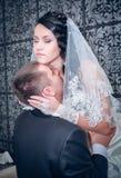 Brud och brudgum på deras bröllopdag Arkivbilder