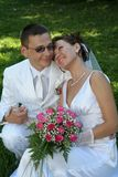 lycklig brudbrudgum Royaltyfri Foto