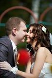 Lycklig brudgum och brud Fotografering för Bildbyråer