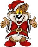 lycklig brun jul för björn Arkivfoton