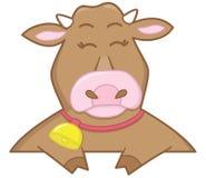 lycklig brun ko Arkivbild