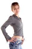 lycklig brunettflicka fotografering för bildbyråer