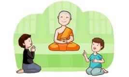 Lycklig buddistisk munk och anhängare Royaltyfri Foto
