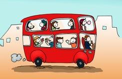lycklig bussstad Arkivbild