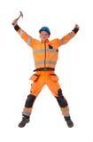 Lycklig byggmästare i fungerande kläder med hammarejumpi Arkivbilder