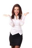 Lycklig caucasian affärskvinna Arkivfoton