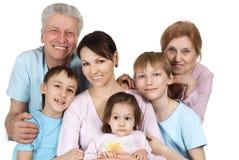 Lycklig Caucasian familj av sex arkivbild