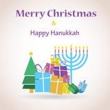 Lycklig Chanukkah och glad jul royaltyfria bilder