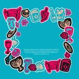 Lycklig Chanukkahhälsningram med hand dragen beståndsdelar och bokstäver stock illustrationer