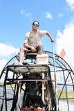Lycklig chaufför för Airboat Arkivfoto