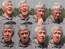 Lycklig collage för hög man för demens royaltyfria bilder