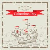 Lycklig columbus dag Hälsningkort med ett skepp i stilen av sk stock illustrationer