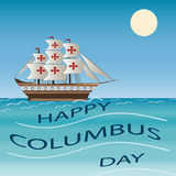Lycklig Columbus Day Holiday Ship Vector illustration Fotografering för Bildbyråer