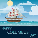 Lycklig Columbus Day Vector illustration Arkivfoton