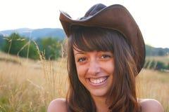 lycklig cowgirl Arkivfoto