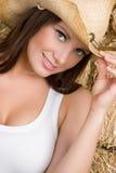 lycklig cowgirl Arkivfoton