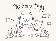 Lycklig crad för moderdag med kattmamman och små pott Plan illustration för djur för dag för vektormoder` s royaltyfri illustrationer