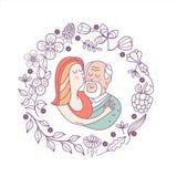 Lycklig dag av den äldre personen Gullig vektorillustration av en gre royaltyfri illustrationer