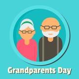 Lycklig dag av morförälderbakgrund, lägenhetstil stock illustrationer