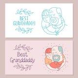 Lycklig dag för åldringen Älskvärt hälsningkort med en ferie vektor illustrationer