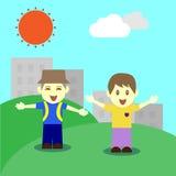 Lycklig dag för barn in fine royaltyfri illustrationer