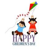 Lycklig dag för barn` s stock illustrationer