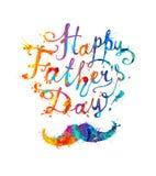 Lycklig dag för fader` s! Bokstäver och mustasch VattenfärgfärgstänkPA royaltyfri illustrationer