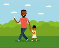 Lycklig dag för fader` s Farsa med dottern i parkera vektor illustrationer