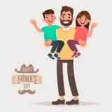Lycklig dag för fader` s Farsa med hans son och dotter i hans armar G vektor illustrationer