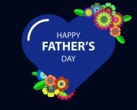 Lycklig dag för fader` s i blå hjärta Arkivbild