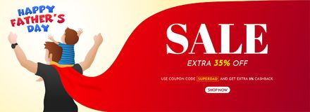 Lycklig dag för fader` s, Sale banerdesign med 35% av erbjudanden och H stock illustrationer