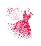 Lycklig dag för kvinna` s! 8 ferie för mars Klänning royaltyfri illustrationer