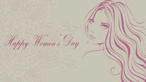 Lycklig dag för kvinna` s 8 mars stock illustrationer