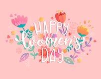 Lycklig dag för kvinna` s med handdrawn bokstäver royaltyfri illustrationer