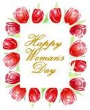 Lycklig dag för kvinna` s Ram av ljusa röda tulpan vattenfärg vektor illustrationer
