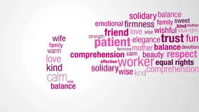 Lycklig dag för kvinna` s Starta med ett moln av ord i rosa färg- och lilafärger som verkar en och en att bilda konturn av en kvi lager videofilmer
