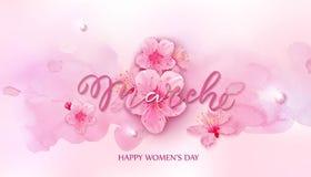 Lycklig dag för kvinnor s 8 mars med körsbärsröda blomningar Arkivfoton
