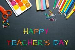 Lycklig dag för lärare` s Fotografering för Bildbyråer