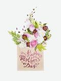 Lycklig dag för moder` s! Blom- bukett i kuvert Arkivbilder