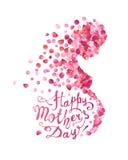 Lycklig dag för moder` s! Gravid kvinna av rosa kronblad royaltyfri illustrationer