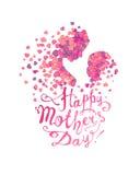 Lycklig dag för moder` s! Kvinnan och behandla som ett barn av hjärtor royaltyfri illustrationer