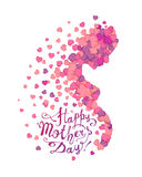 Lycklig dag för moder` s! Profil av gravida kvinnan av hjärtor vektor illustrationer